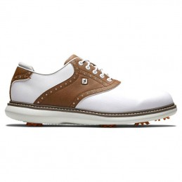 Footjoy Traditions heren golfschoen (wit-bruin) 57905 Footjoy Golfschoenen