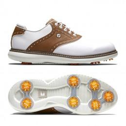 Footjoy Traditions heren golfschoen (wit-bruin) 57905 Footjoy Golfschoenen