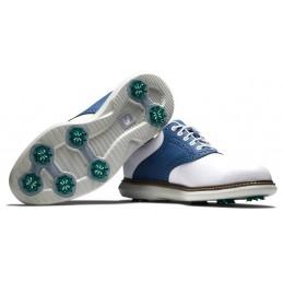 Footjoy Traditions heren golfschoen (wit-blauw) 57901 Footjoy Golfschoenen