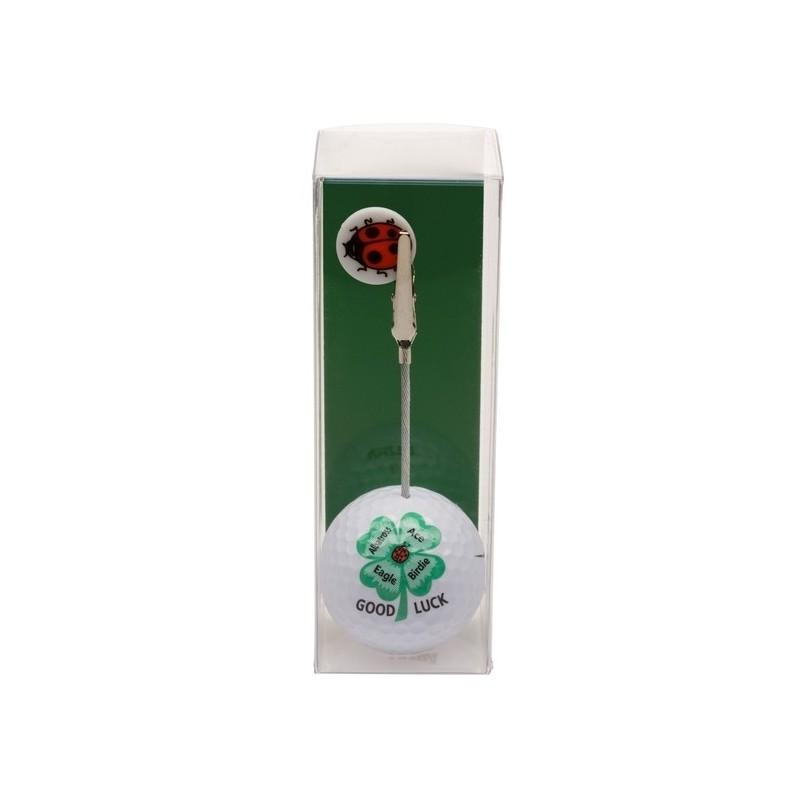 Golfbal met opdruk en marker - Good Luck (1 stuks)