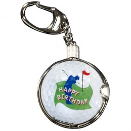 Sleutelhanger met golfbal - Happy Birthday (1 stuks) KEYGO Sportiques Golfcadeaus