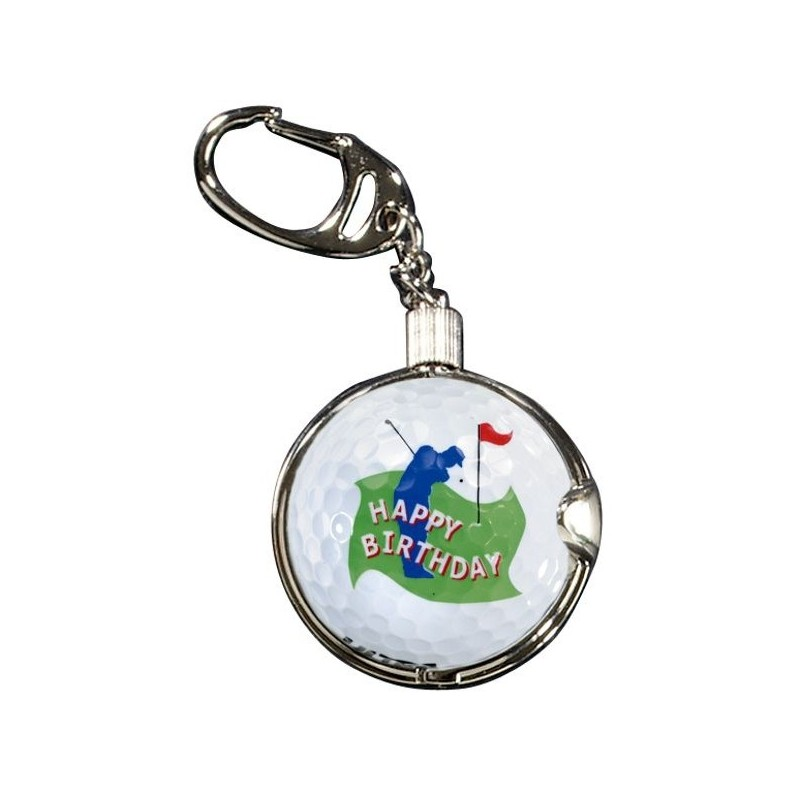 Sleutelhanger met golfbal - Happy Birthday (1 stuks) KEYGO Silverline Golf Golfcadeaus