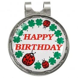 Magnetische marker op hatclip - Happy Birthday (1 stuks)  Silverline Golf Golfcadeaus