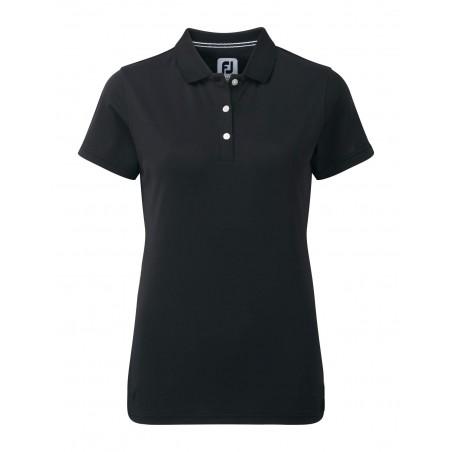 FootJoy Stretch Pique Solid dames golf poloshirt (zwart) 94321 Footjoy Golfkleding