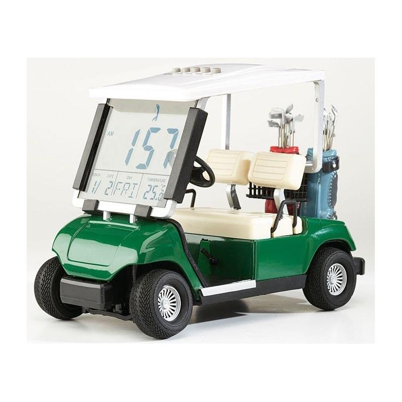 Wekker - mini golfcart model (groen) 10642 Sportiques Golfcadeaus