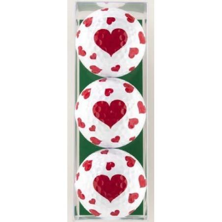 3 golfballen hartjes GBHR Sportiques Golfcadeaus