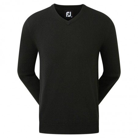 Footjoy Wool Blend v-neck heren golftrui (zwart)