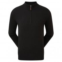 Footjoy Wolmix halve rits golf pullover trui (zwart)