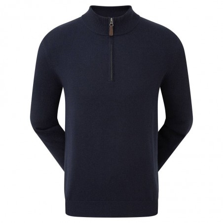 Footjoy Wolmix halve rits golf pullover trui (marineblauw) 90138 Footjoy Golfkleding